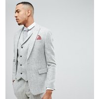 ASOS TALL Slim Suit Jacket in 100% Wool Harris Tweed In Light Grey - Light grey