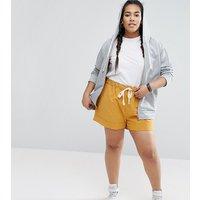ASOS CurveASOS CURVE Linen Drawstring Casual Shorts - Ocre