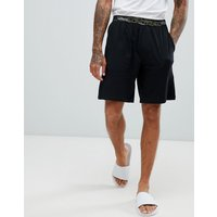 Calvin Klein Lounge Shorts With Camo Waistband - Black