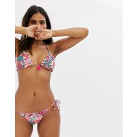 Accessorize Reversible Tie Side Bikini Bottom In Bright Floral
