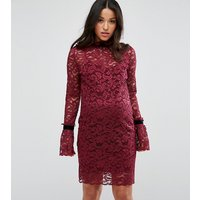 Hope & Ivy Maternity Long Sleeve Lace Shift Dress - Berry