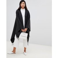 French Connection Pinstripe Knit Poncho - Drk Gry Mel/wntr Whi