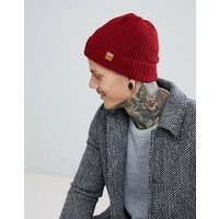 Dead Vintage Ribbed Beanie Hat In Burgundy - Red