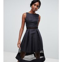 Chi Chi London Tall structured midi dress with lace inserts in black