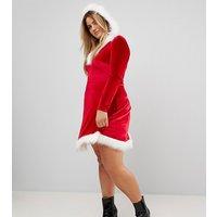 Club LClub L Plus Hoodied Sexy Santa Christmas Dress - Red