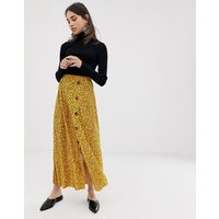 ASOS DESIGN plisse maxi skirt in ditsy floral with button front