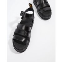Dr Martens Blaire Leather Strappy Flat Sandals in Black - Black brando