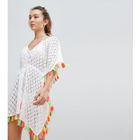 Akasa Multi Coloured Tassel Beach Kaftan - White