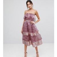 True VioletTrue Violet Bardot Midi Dress in Textured Fringe Fabric with Border Hem - Violet