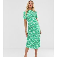 ASOS DESIGN Maternity midi tea dress with buttons in floral print - Floral