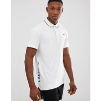 Lacoste Sport twin tipped logo polo in white - White