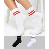 Pack de 2 pares de calcetines de rayas de ASOS DESIGN