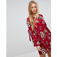 Girls On Film Floral Dress With Flare Tie Sleeve - Burgundy base print