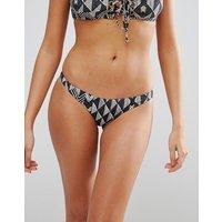 Amuse Society Geo Print Skimpy Bikini Bottom - Black Sands (multi