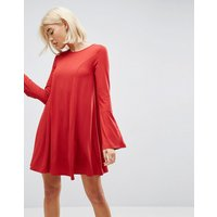 ASOS Mini Swing Dress with Seam Detail and Trumpet Sleeve