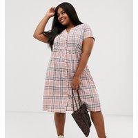 Daisy Street Plus midi shirt dress in check - Pink check