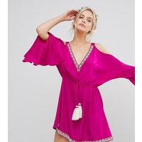White Cove PetiteWhite Cove Petite Embellished Cold Shoulder Dress With Peplum Hem Detail - Hot pink