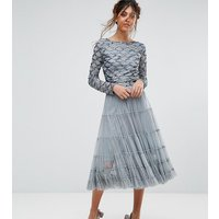 Lace and BeadsLace & Beads Tierred Tulle Skirt With Embellished Waistband - Grey