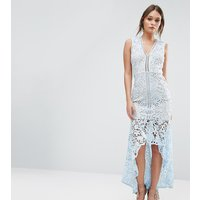 Love TriangleLove Triangle Lace Sleeveless Dress With Peplum Hem - Blue