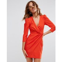 ASOS Wrap Front Mini Dress - Blood orange
