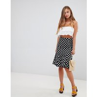 Gilli polka dot midi skirt with flare hem - Black/white