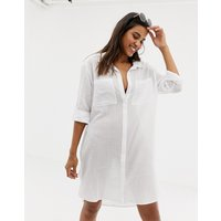 Seafolly crinkle twill beach shirt in white - Wh1 - white 1