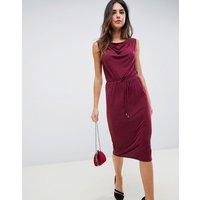 Oasis Drape Midi Dress - Dark Wine