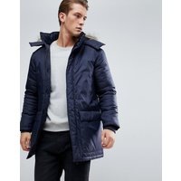 French Connection Parka With Faux Fur Hood - Navy
