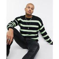 ASOS DESIGN oversized neon stripe jumper in black - Black