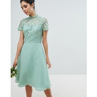Chi Chi London 2 in 1 High Neck Midi Dress with Crochet Lace