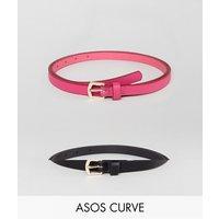 Pack de 2 cinturones en rosa intenso y negro de ASOS CURVE