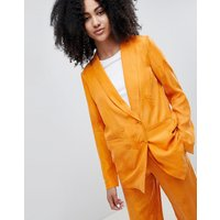 Gestuz Orange Blazer With Feather Pattern - Desert sun orange