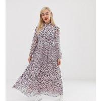 Glamorous Petite maxi dress with high neck in dalmatian print