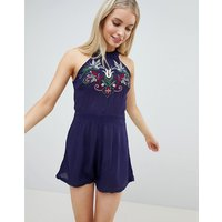 Brave Soul East High Neck Embroidered Playsuit - Navy