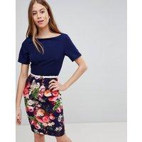 Paperdolls Floral Pencil Skirt Dress - Navy multi