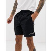 Parlez Kirk short with embroidered logo in black - Black