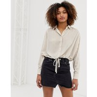 ASOS DESIGN long sleeve soft shirt with tie waist in stripe - Multi