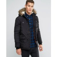 Brave Soul Parka Jacket with Faux Fur Trim Hood - Black