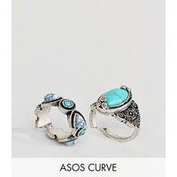 Pack de 2 anillos con piedra sintética turquesa de ASOS CURVE