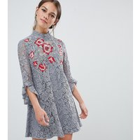 Little Mistress Petite lace mini shift dress with embroidery detail - Pewter