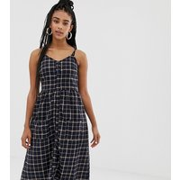 Daisy Street button front midi dress in grid check - Navy