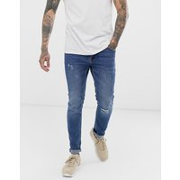 Only & Sons skinny washed blue jeans with knee break - Blue