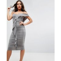 ASOSASOS Ruched Crepe Ruffle Bodycon Midi Dress - Khaki