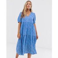 Vero Moda Aware smudge print puff sleeve maxi smock dress - Multi