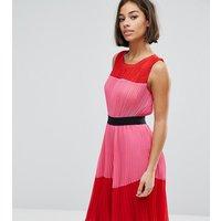 ASOS PETITE Pleated Colour Block Dress - Multi