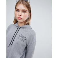 Cheap Monday Chest Logo Hoodie - Grey Melange