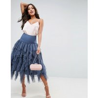 ASOSASOS Tulle Midi Prom Skirt with Vertical Ruffles - Blue