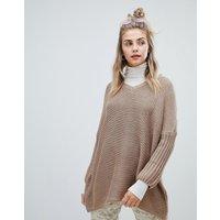 Noisy May deep v-neck oversize jumper - Beige