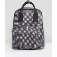 Qupid Star Print Backpack With Front Pocket - Black white star