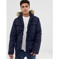 Brave Soul Quilted Parka Jacket with Faux Fur Trim Hood - Navy